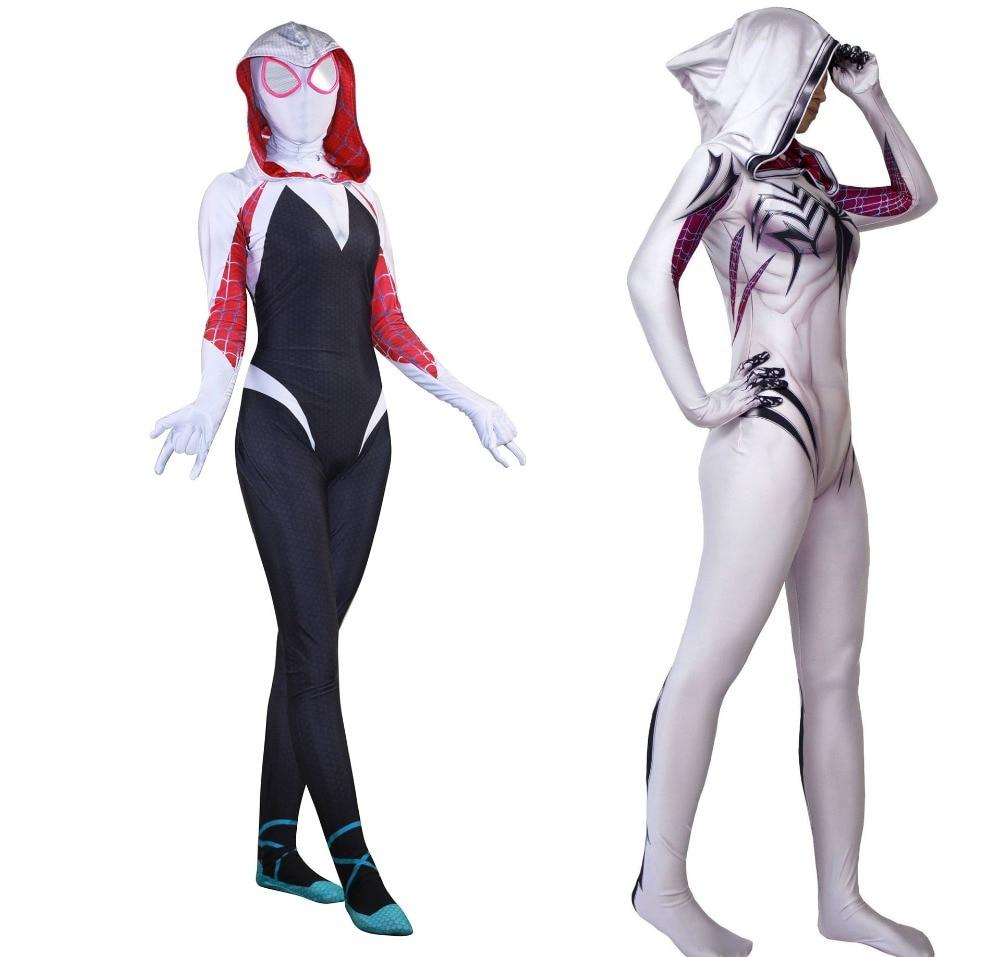 Lycra Superhero White Venom Costume for Women Zentai Spiderman Cosplay for Halloween Spider Man Costume Bodysuit Suit