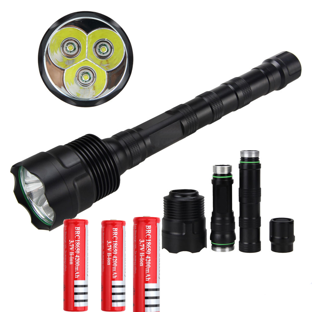 3T6 flashlight 3xCREE XM-L2 5000 lumens 3* L2 5 Mode 3 * Cree LED Flashlight Torch Lamp + 3x 18650 battery 3 6 5000 carretel arremesso