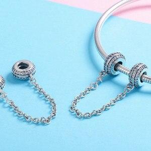 Image 4 - 100% Серебряный браслет с инкрустацией, безопасная цепочка с прозрачными фианитами, подвески для браслета, DIY ювелирные изделия SCC812