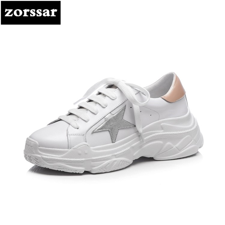 {Zorssar} 2018 New Fashion Genuine cow Leather Women shoes flats Casual Shoes Comfortable Flat platform Female sneakers shoes