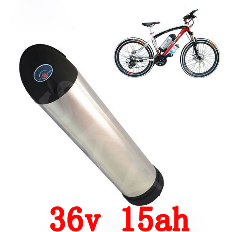 36V 15AH Water bottle type Lithium Ion Battery for Electric Bike Conversion kit with BMS,charger free customs taxes super power 1000w 48v li ion battery pack with 30a bms 48v 15ah lithium battery pack for panasonic cell