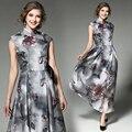 Высокая Марка Женщины 2017 Весенняя Мода Китайский Стиль Vintage Цветочный Печати Сетки Платья Плюс Размер Дамы Элегантные Длинные Midi Dress