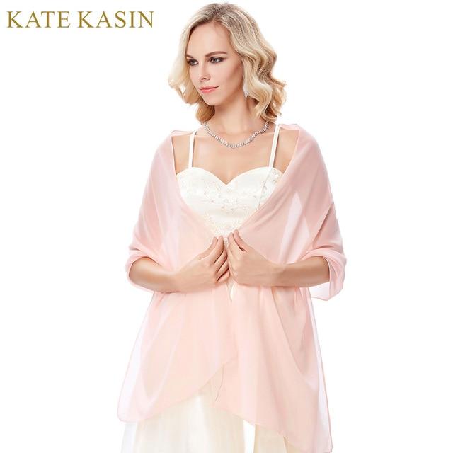 Kate Kasin Long Chiffon Bridal Wraps For Evening Party Dress Light Pink Blue Green Purple White