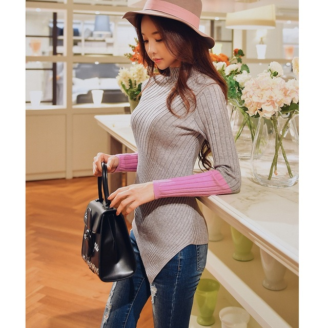 original 2018 brand pull femme hiver color block pullover fashion slim autumn winter turtleneck knitted sweater women wholesale