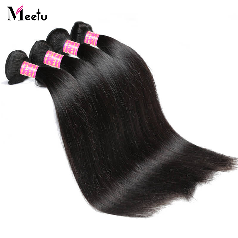 Meetu Hair-Bundles Human-Hair-Extensions Deal Straight Brazilian 8-28inch Non-Remy