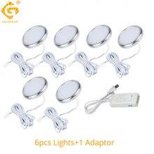 LED Under Cabinet Lights Kitchen Closet Counter Aluminum Silver Round Puck Lamps 12V Bookcase Wardrobe Light Cupboard Lighting