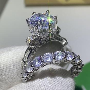 Luxury Jewelry 925 Sterling Silver Round Cut AAAAA Cubic Zirconia Wedding Crown Ring Set