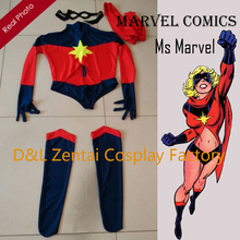 Free Shipping DHL Warbird Binary Ms Marvel Costume Captain Marvel Navy/Red Spandex Super Hero Cosplay Halloween Costume MM1837