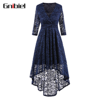 GNIBIEL High Quality Women V Collar Tuxedo Lace Chiffon Dress Irregular Dinner Dress Middle Sleeve Elegant Noble Dovetail Dress