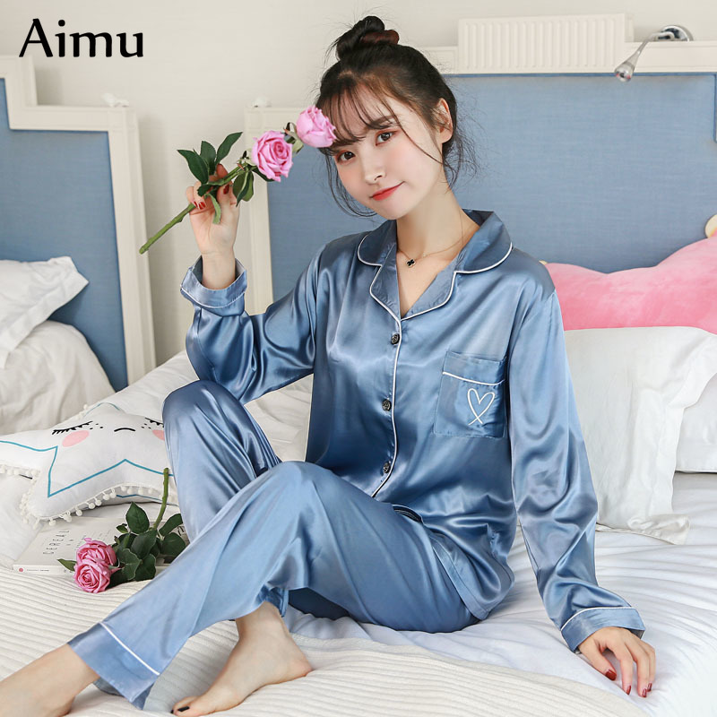 2019 Spring women   Pajamas   Adult Silk solid Sweet Womens Sleepwear   Set   Girl Nightgown Long Pant   pajamas   Silk Cardigan   Pajama     Sets