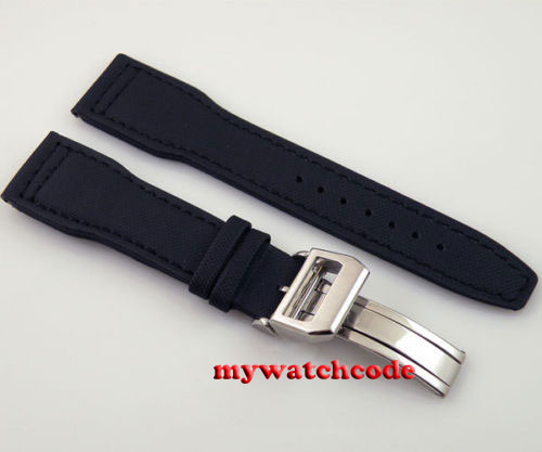 22mm black fabric Leather Strap Deployment Clasp For watch free shipping