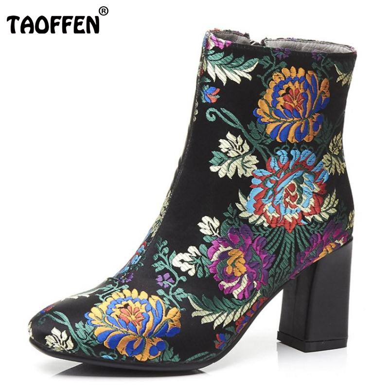 TAOFFEN Fashion Brand Winter Shoes Women Real Leather Thick High Heel Winter Boots For Women Embroidery Warm Botas Size 34-39