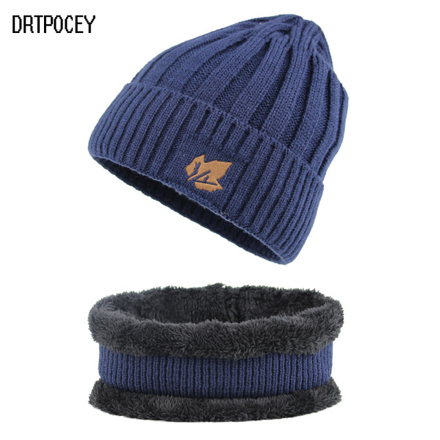 110d863d504 Men Winter Hat Scarf Sets Fashion Maple Leaf Knitted Skullies Beanies Man  Thick Add Velvet Knit Bonnet Cap gorros mujer invierno