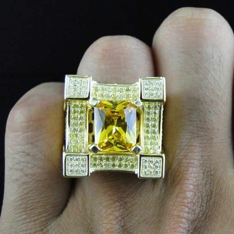 2019 ใหม่แฟชั่นสีคลาสสิก Punk สไตล์ Hip Hop แหวนผู้ชาย Man แชมเปญ Zircon แหวนนิ้วมือสำหรับผู้ชายผู้หญิงเครื่องประดับ