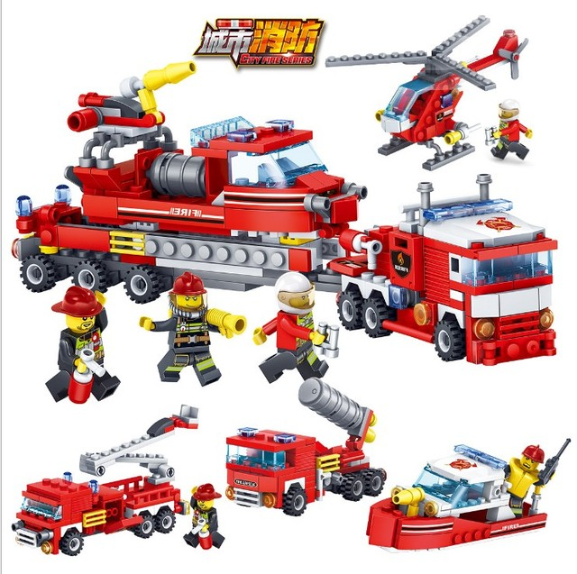 80512 348pcs Fire Rescue Constructor Model Kit Blocks Compatible LEGO Bricks Toys for Boys Girls Children Modeling