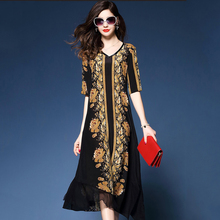 Spring and summer new style Large size M-3XL loose floral chiffon dress Printed long temperament