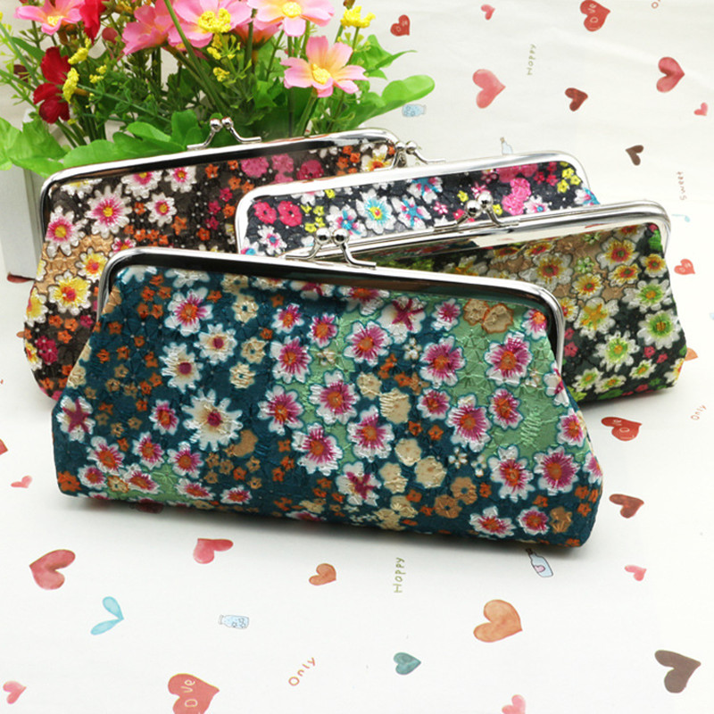 Graceful Small Flower Long Zero Wallet 2017 New Ethnic Coin Purse 5 Inch Phone Bag Vintage Embroidering Girl Hand Small Bag