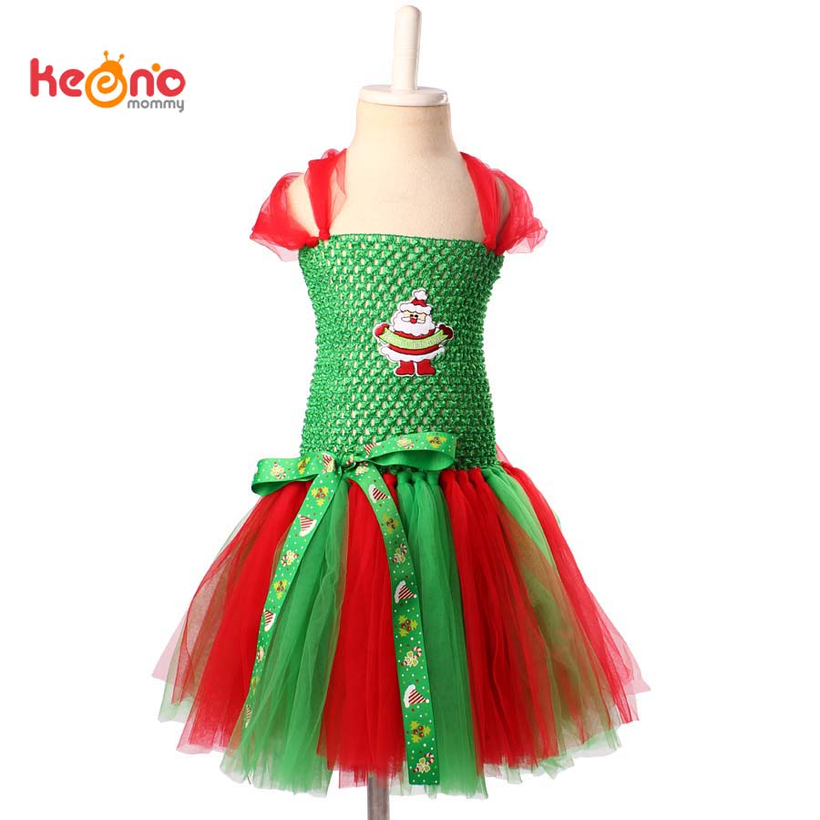 Keenomommy Red and Green Baby Girls Christmas Tutu Dress Holiday Photo Prop Outfit Santa Claus Snowman Tutu Dress TS142 my 1st christmas santa claus white top minnie dot petal skirt girls outfit nb 8y