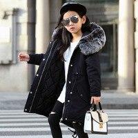 For 110 160 cm Kids Children Winter Jacket Girl Winter Coat Kids Warm Thick Fur Collar Hooded long down Coats For Teenage