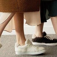 Fashion Winter Fur Sneakers Women Lace up Flat Shoes 2019 INS Street Style Women Sneaker Shoes