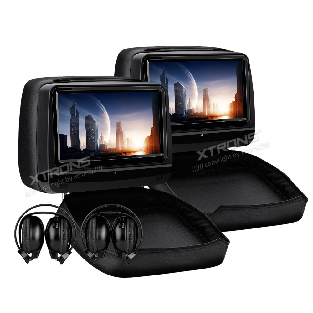 XTRONS 2pcs 9 inch Monitor Car Headrest DVD Player 1080P Video HD Digital Touch Screen Leather Cover /HDMI USB SD+IR headphones