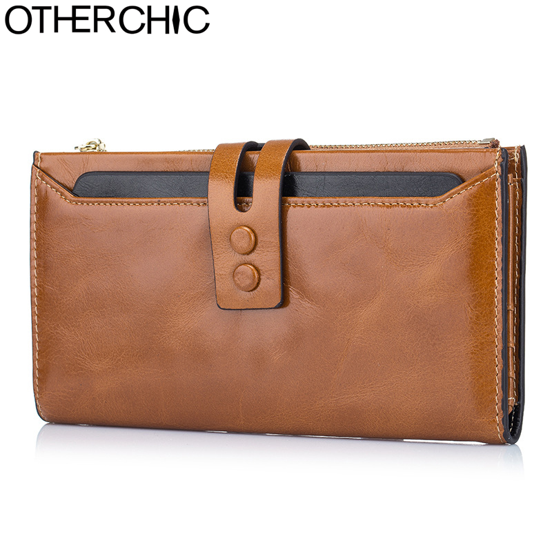 OTHERCHIC Genuine Leather Long Wallets Vintage Women Stylish Wallet Fashion Card Holders Clutch Purses Female Purse 7N02-35 new arrival 2017 wallet long vintage man wallets soft leather purse clutch designer card holders business handbags clips