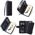 Cuero genuino bolso del teléfono case para iphone 5 5s 6 6 s 6 plus case cubierta del bolso de la cartera del teléfono case magnética separación
