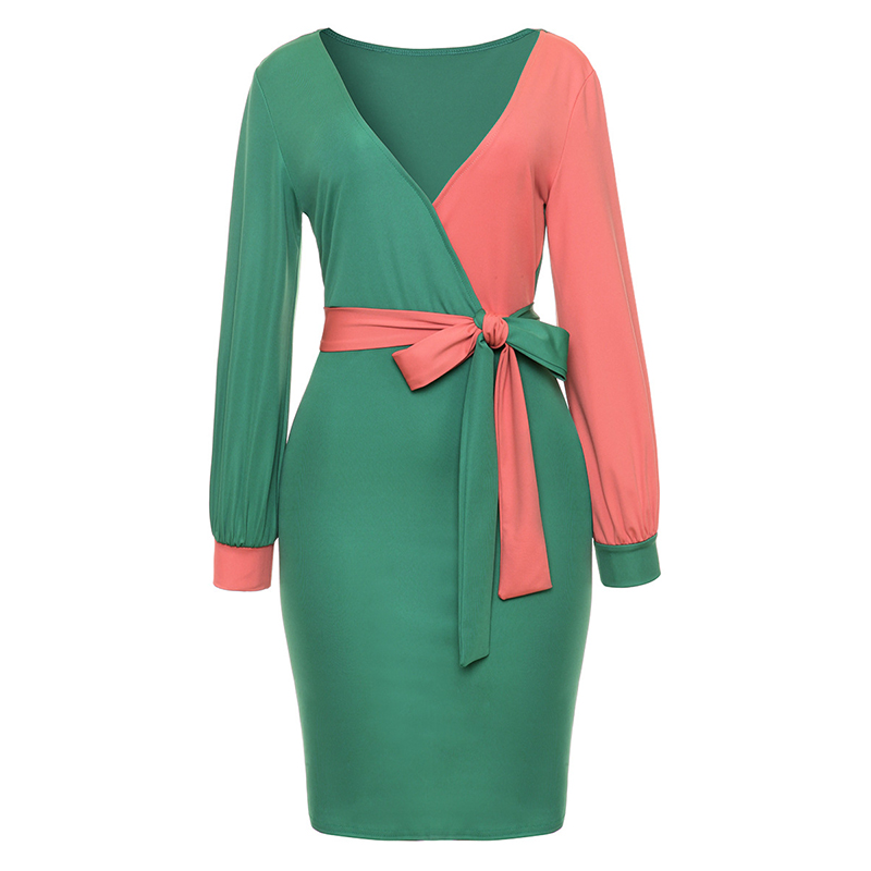Women Party Dress Long Sleeve V-neck Casual Patchwork Hit Color Office Dress With Belt Women Clothes WS5827M