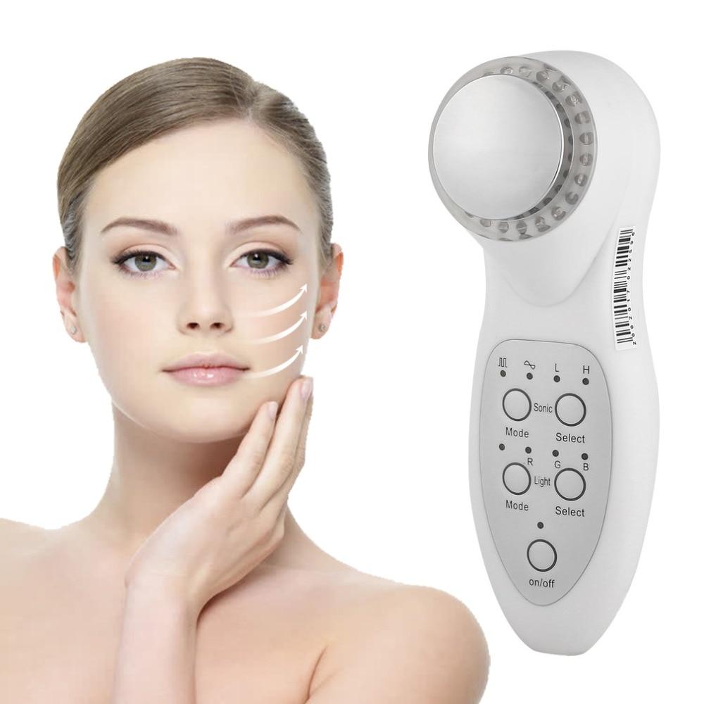 7 Color Led Light Ultrasonic Portable Facial Skin Appliance Therapy Photon Rejuvenation Mode RGB Beauty Instrument US/EU Plug