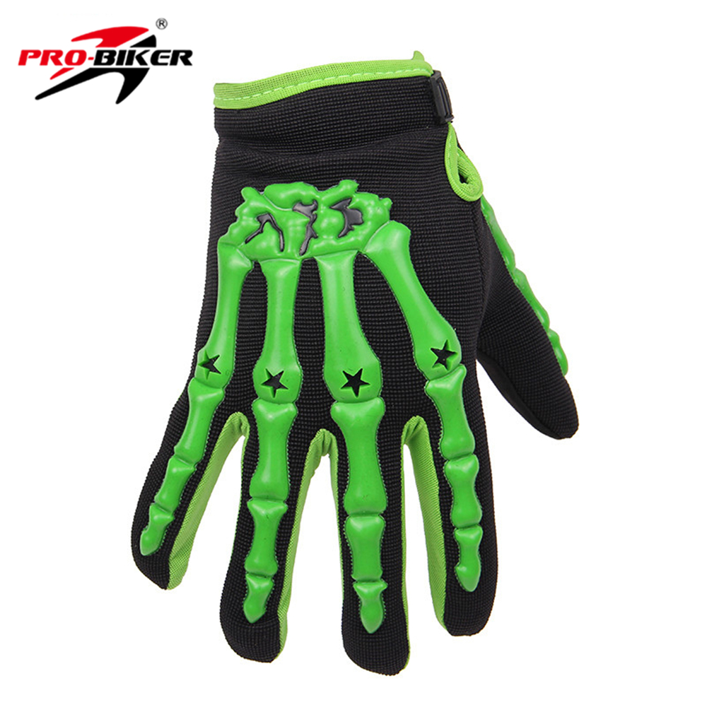 Leather motorcycle skeleton gloves - Pro Biker Bicycle Bike Cycling Gloves Skull Style Racing Motorcycle Full Finger Gloves Luvas Motocross