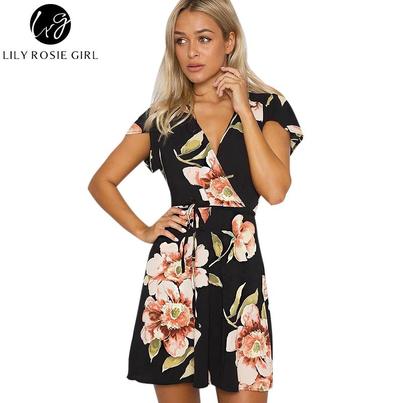 Lily Rosie Girl Women 2017 Black Deep V Neck Floral Elegant Sexy Summer Mini Dress -6946