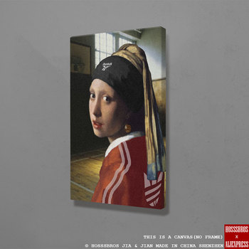 Chica con un pendiente de perla arte divertido arte de pared lienzo decoración poster impresiones para sala de estar hogar dormitorio decoración pintura