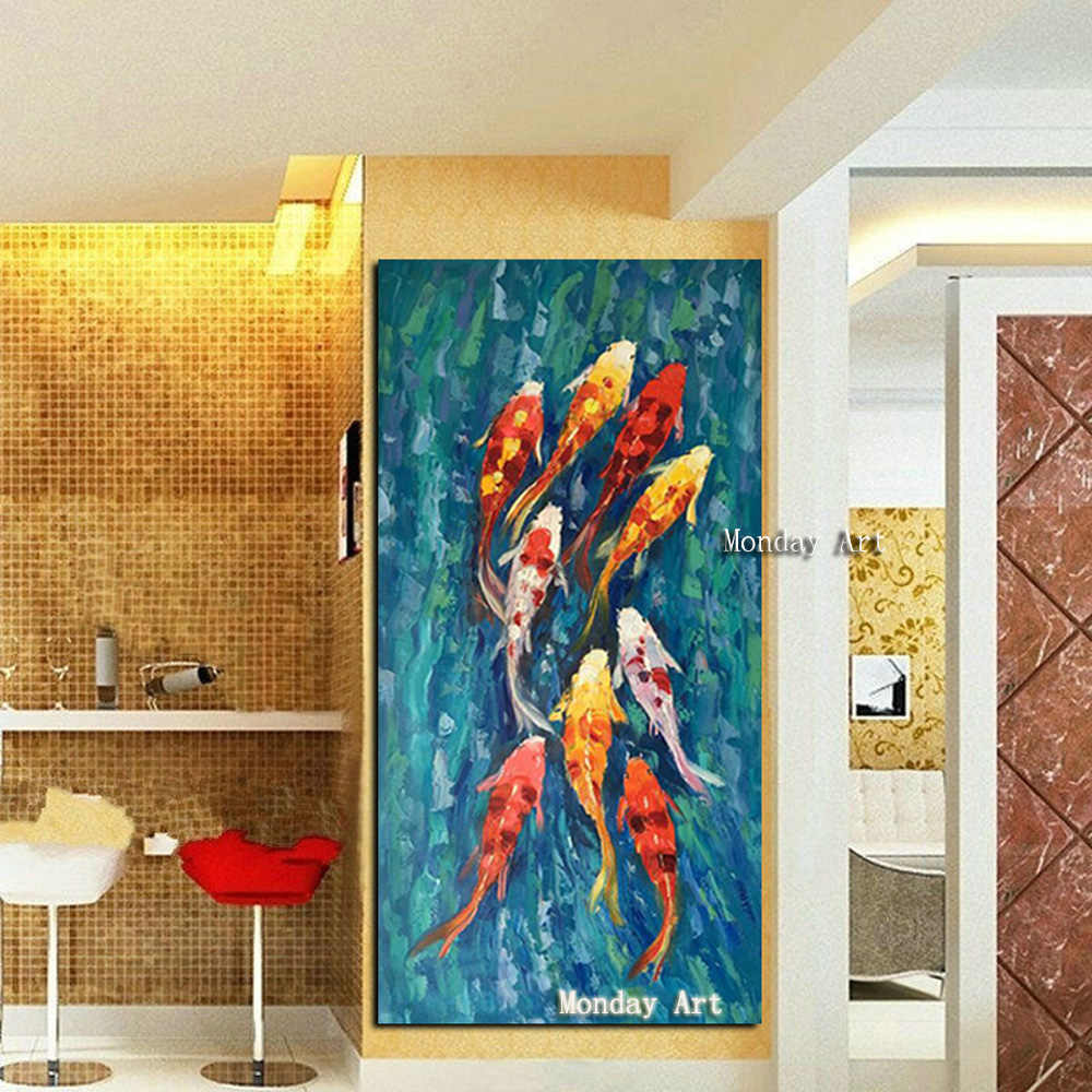 High quality 100% Hand painted Landscape Oil Painting Nine Koi Fish painting Wall Canvas goldfish Picture for home decoration