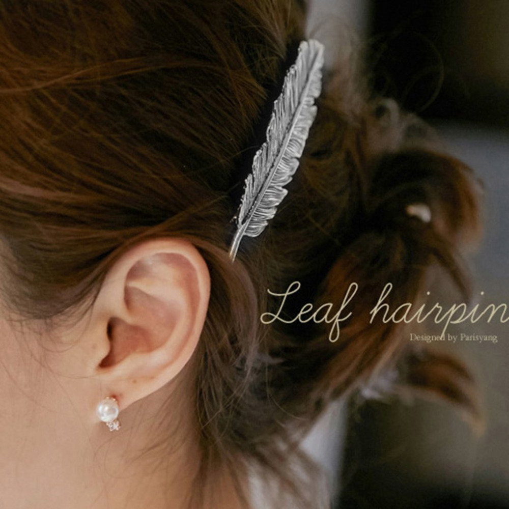 2019 Fashion Women Metal Leaf Hair Clip Girls Vintage Ponytail Barrettes Hairpin Princess Hair Accessories Barrettes Para El Pelo Hairpins 50% OFF
