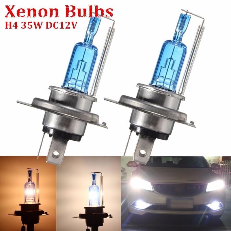 2pcs H4 3.5A 35W Hi/Lo Beam Headlight Three Contactors Halogen Super Bright Xenon White Auto Car Lamp Bulb 6000K Car Styling