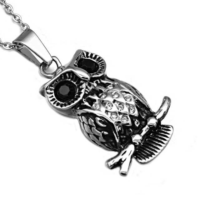 Hip punk black crystal eyes owl necklaces cool titanium stainless hip punk black crystal eyes owl necklaces cool titanium stainless steel vintage animal owl pendants for aloadofball Image collections