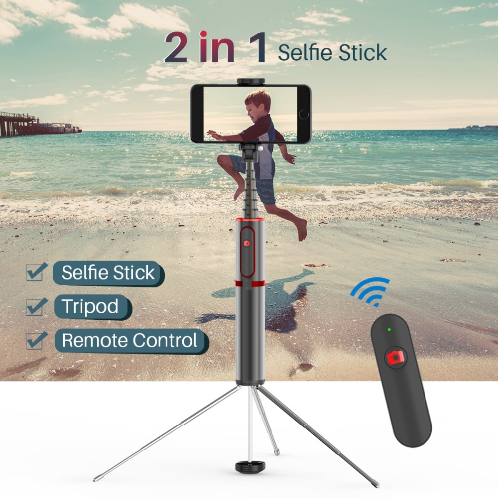 все цены на Selfie Stick 2 in 1 Handheld Tripod with Bluetooth Remote Extendable Monopod Universal for iPhone 7 Sumsang Galaxy Huawei онлайн