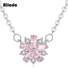 Ailodo Pink Crystal Sakura Flower Pendant Necklace For Women Silver Color Long Chain Statement Fashion Jewelry LD075