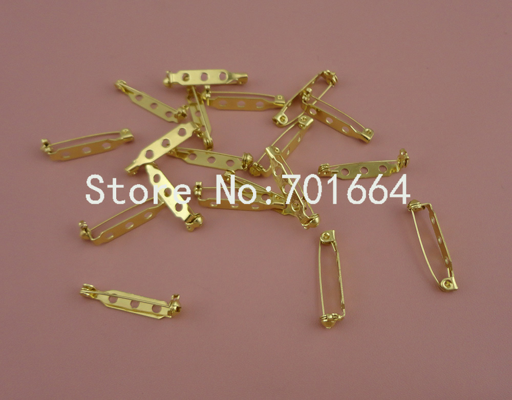 """100 шт. Lt Золотой 2,5 см 1,"""" три отверстия обычный металл булавки сзади с замком для броши значок свинца и никель бесплатно"""
