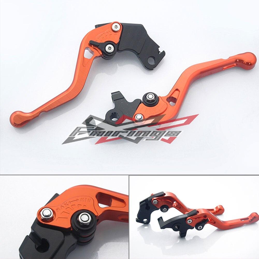 Black CNC Orange Clutch side Levers Set Adjustable For KTM 125 200 390 Duke motorcycle front rider seat leather cover for ktm 125 200 390 duke