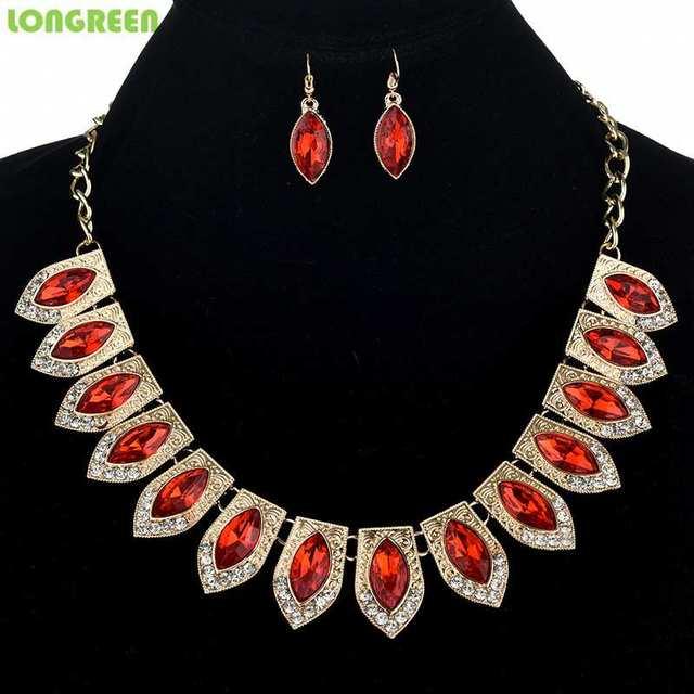 Multicolor Crystal Zircon Water Drop Jewelry Sets for Women Bridal Wedding bijoux africain parures 3