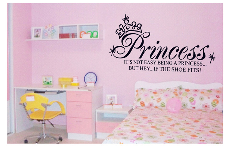 ... Princess Crown Vinyl Wall Sticker Quote Art Decal Baby Girl Kids Room  Wallpaper Poster Adesivos Vinilo ... Part 75