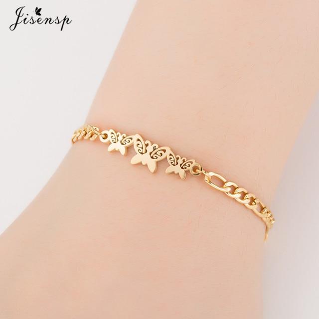 c049cadf8657 Jisensp joyería minimalista oro Acero inoxidable cadena mariposa pulseras  para mujeres Bijoux brazalete brazaletes banquete accesorios