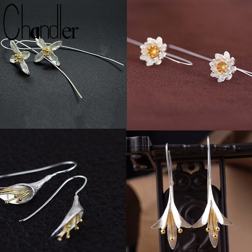 Prata brincos de flor longa para as mulheres novo design adorável meninas presente declaração jóias pendientes plata 925 atacado