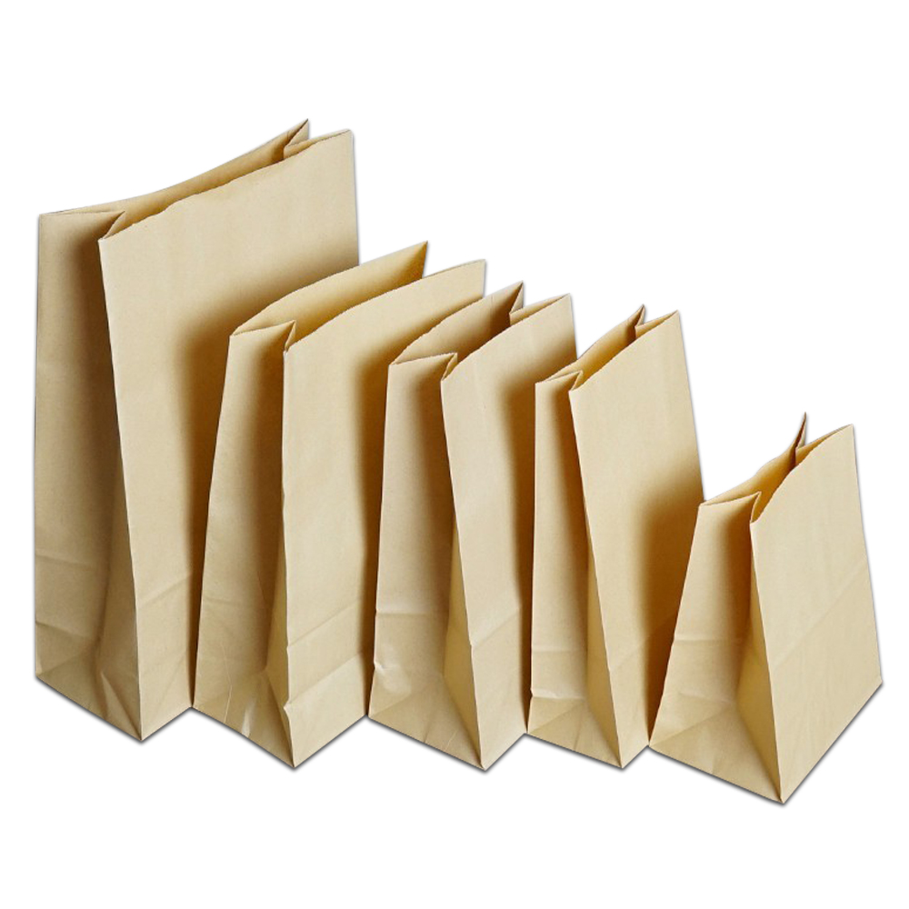 50 Pcs Brown Kraft Paper Bread Bag Food Sandwich Cookies Candy Flat Bottom Party Favor Supply Bag 7 Size