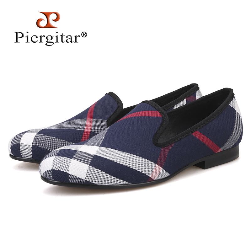Piergitar Blue and white plaid canvas shoes luxurious brand men loafers black pig leather insole men