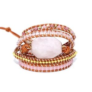 Image 5 - 2019 kamień naturalny bransoletka 5 okłady bransoletka Boho, ręcznie robiony, różowy bransoletka kwarcowa dla kobiet skórzane bransoletka prezent Dropshipping