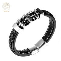 VCOOL Personality Skull Accessories Leather Wrap Bracelets For Man Punk Style Stainless Steel Skeleton Men Jewelry