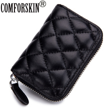 COMFORSKIN New Arrivals Sheepskin Organ Style Credit Card Holders Zipper Case Premium Genuine Leather Wallet Purses