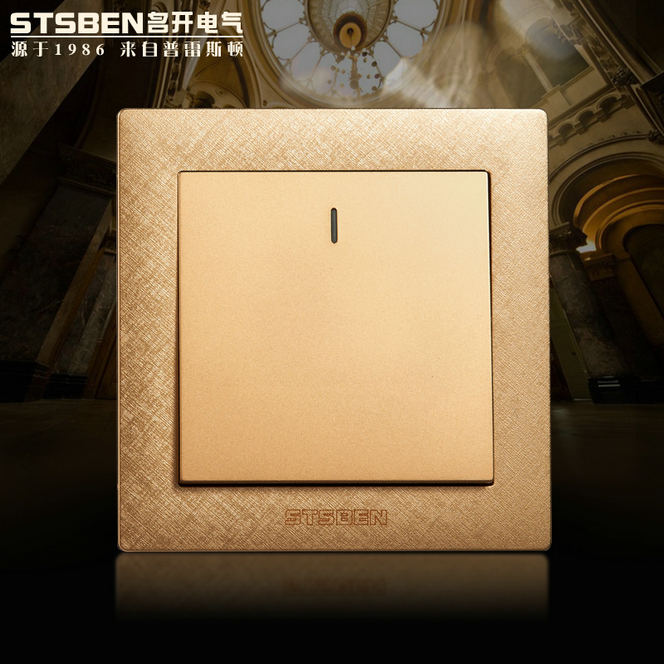 Open the electrical wall switch panel V4 champagne gold single double switch a double control switch socket on the open shanghai wing star ship switch kcd6 21n f ip65 waterproof switch 6a 4 foot red 220v